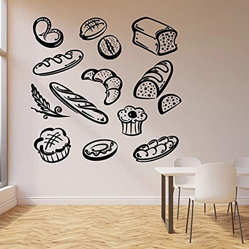 42x42cm (Colores y tamaños Personalizados) Pan Comida rápida Calcomanía de Pared Panadería Productos de panadería Postre Cocina Restaurante Decoración de Interiores Puertas y Ventanas Vini