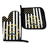 Wenxiupin 2er Set USA Rhode Island Mix Flagge USA Pr Puerto Rico Fahne Ofenhandschuhe und Topflappen BBQ Handschuhe - Ofenhandschuhe und Topflappen Kochhandschuhe für Küche Kochen Backen...