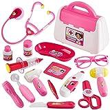 Buyger 16 Piezas Maletin Medicos Juguete Conjunto Doctora Enfermera Dentista Kit Juguetes Estetoscopio Accesorios para Niña Niños 3 4 5 Años (Rosa)