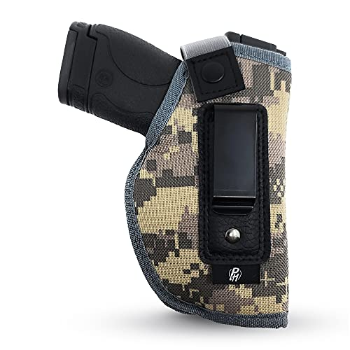 IWB Gun Holster by PH - Concealed Carry | Color Camo | Soft Interior | Fits M&P Shield 9mm.40.45 Auto/Glock 26 27 29 30 33 42 43, Ruger LC9, LC380 | Taurus Slim, PT111 | Springfield XD Series (Right)