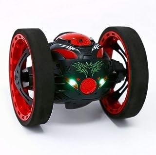 ZMH Coches RC Actualización Versión Jumping Bounce Mini Cars Juguetes Flexibles Ruedas Rotación Música LED Luz Robot Coche Niños Regalos Rojo Negro