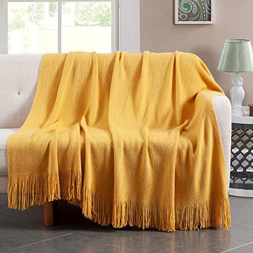 Vonty - Manta de punto amarillo con flecos de flecos de 127 x 152 cm, manta de punto súper suave, manta decorativa ligera para sofá, cama