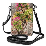 Jiger Women Small Cell Phone Purse Crossbody,Fresh Little Tree With Fuchsia Flowers In Front Of Cracked Wall Hope Theme
