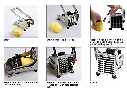 Potato Chipper, Sopito Potato Cutter Stainless Steel French Fries Cutter for Sweet Potatoes and Homemade Chips