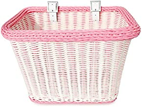 Colorbasket Adult Front Handlebar Rectangle Bike Basket - White with Pink Trim