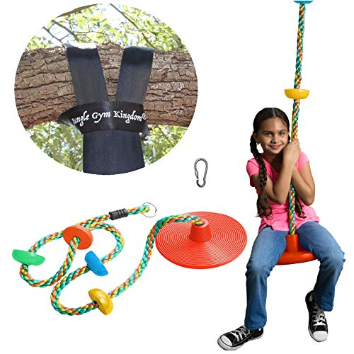 Jungle Gym Kingdom Tree Swing Climbing Rope with Platforms Green Disc Swings Seat - Outdoor Playground Set Accessories Tree House Flying Saucer Outside Toys - Snap Hook and 4 Feet Strap (Red)