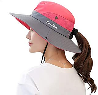 AICILY Women's Summer Mesh Wide Brim Sun UV Protection Hat with Ponytail Hole