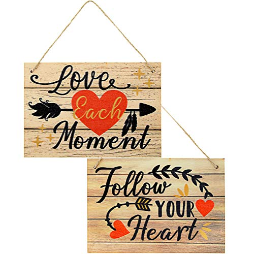 Jetec 2 Piezas Letreros Colgantes de Madera Cartel Colgante de Decoración de Madera de Pared de Follow Your Heart Love Each Moment Placa de Amor para Día de San Valentín Boda, 10 x 7 Pulgadas