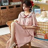 Camisón de Verano para Mujer, Ropa de Dormir Corta de algodón, Ropa de Dormir de algodón Suave, M-4XL, Ropa de Dormir para Mujer de Gran tamaño y Grasa, Ropa de dormir-4XL_90-100KG