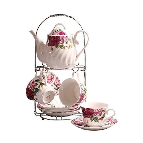 ufengke-ts 9 Stück Weiß Englisch Keramik Tee Set Mit Metall Ständer, Rose Druck Und Wasser Kräuselung Vintage Teeservice Service Kaffee Set, Für Geschenk Und Haushalt
