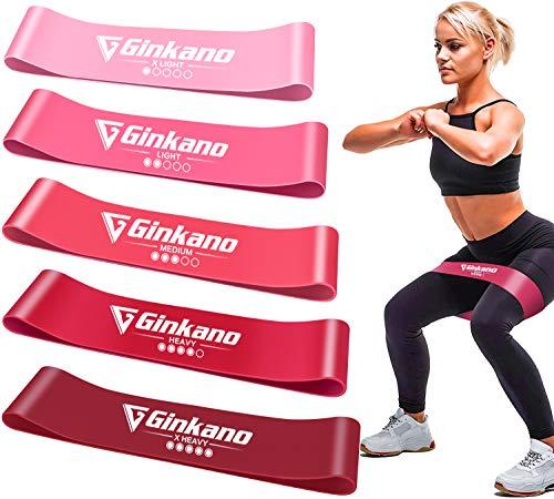 Haquno Widerstandsbänder [5er Set] Fitnessband Gymnastikband 100% Naturlatex Theraband mit Übungsanleitung auf Deutsch & Tragebeutel für Muskelaufbau, Yoga, Crossfit, Gymnastik usw.