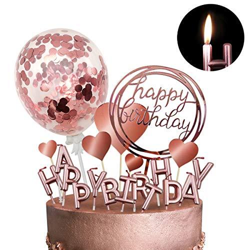 Humairc - Decoración para tarta de cumpleaños con vela, color oro rosa