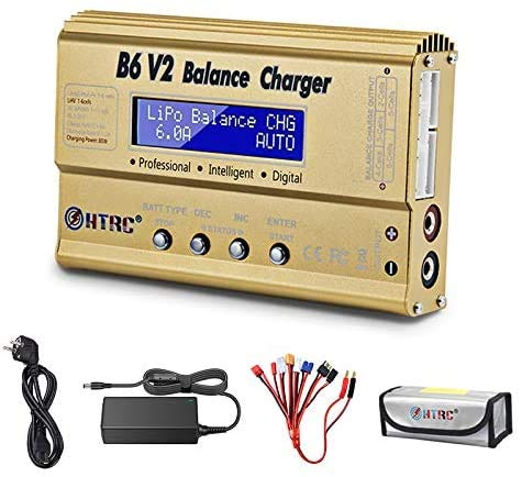 Balance Ladegerät Entlader 1S-6S Digital-Akku-Ladegerät für NiMH / NiCd / Li-PO / Li-Fe Packs w / LCD-Display Hobby-Ladegerät w / Tamiya / JST / EC3 / Hitec / Deans Stecker + Stromversorgung