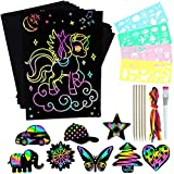 ZZLWAN Scratch Paper Art and Crafts for Kids,50pcs Magic Rainbow Scratch Off Crafts Kit Art Supplies Set for Preschool Games Activities,Birthday Gifts for 4 5 6 7 8 9 10 Year Old Girls and Boys