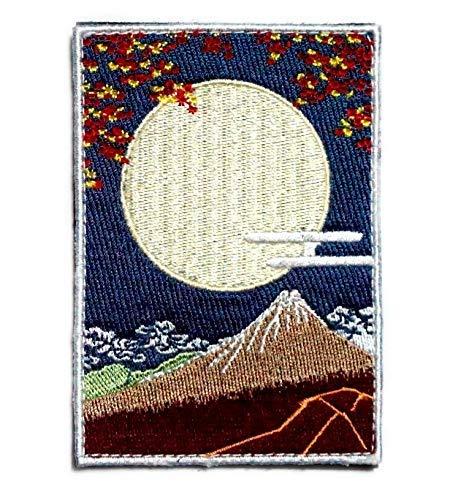 [Japan Import] 100% Embroidery Verclo Patches Hokusai Katsushika Ukiyo-e Moonlit Night of Kurofuji A0393