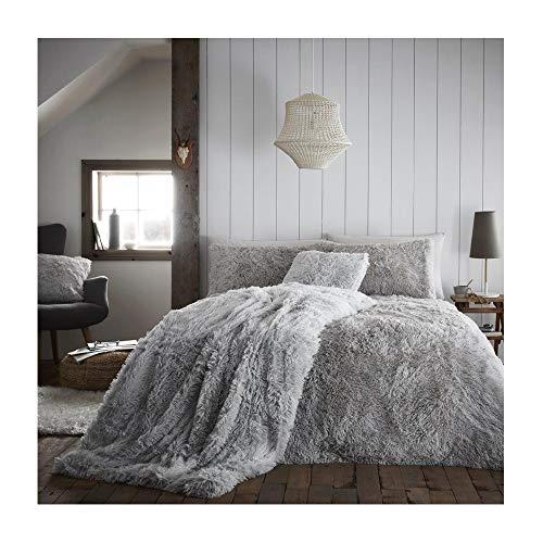 Hug and Snug Duvet Set Polyester Super Soft Warm and Cozy Fluffy Fur Fleece Double Bed Size, Hug & Snug Grey