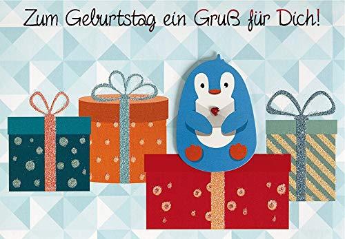 Geburtstagskarte Lifestyle - Pinguin - 11,6 x 16,6 cm