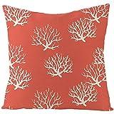 AtHomeShop 50 x 50 cm, funda de cojín decorativa en lino con coral, funda de cojín cuadrada para sofá, dormitorio, oficina, coche, salón, terraza, color coral rojo, estilo 1