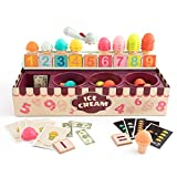 TOP BRIGHT Ice Cream Math Toy – Ice Cream Scoop Game Set for Toddlers – Imitating Role-Playing Game for kids – Ice Cream Cone with Number Cards – Cognitive Development