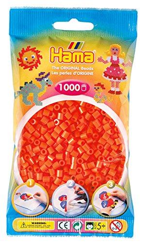 Hama Perlen 207-04 Bügelperlen Beutel mit ca. 1.000 Midi Bastelperlen mit Durchmesser 5 mm in orange, kreativer Bastelspaß für Groß und Klein