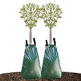 wavraging Baumbewässerungsbeutel, 2pc 20 Gallonen Gießbeutel mit langsamer Freigabe für Bäume, Wassersack aus haltbarem PVC-Material mit Reißverschluss (Freigabezeit 5-8 Stunden)
