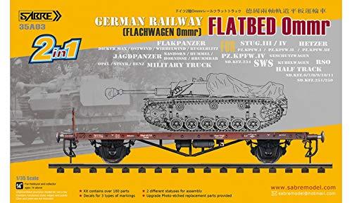 German Railway Flatbed Ommr (Flachwagen Ommr) Sabre Model | No. 35A03 - maqueta Tren vagon aleman Plataforma para Tanques Ligeros y Medios Escala 1:35