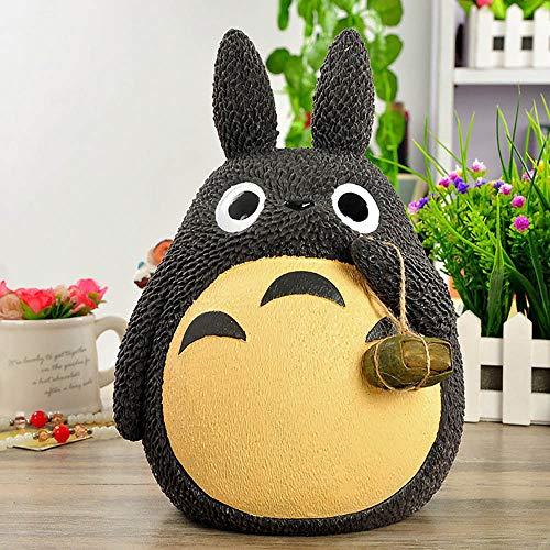 miaomiao 26cm Anime Totoro Vinyl Piggy Bank Coin Bank Money Box, Totoro w/Lotus Leaf,A