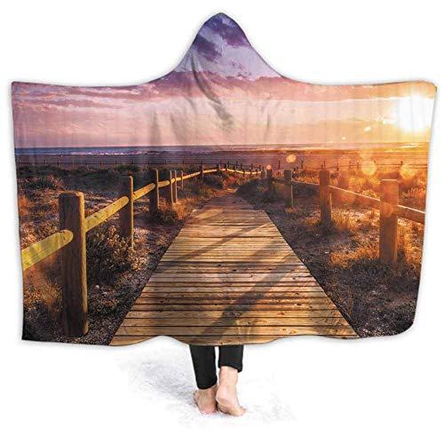 Xarchy Couverture à capuche Couvertures en molleton Sherpa doux Coucher de soleil en Toscane Couverture portable rurale avec capuche pour étudier le bureau de lecture 60W par 50H pouces (avec capuche)
