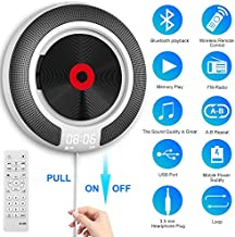 Mansso Portable CD Player with Bluetooth - Wall Mountable CD Music Player Home Audio Boombox with Remote Control FM Radio Built-in HiFi Speakers, MP3 Headphone Jack AUX Input Output