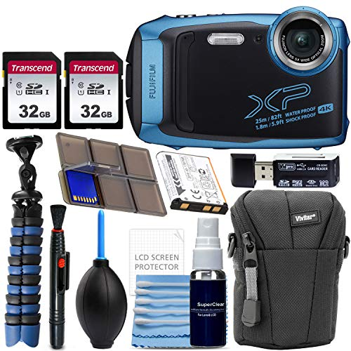 Fujifilm FinePix XP140 Waterproof Digital Camera (Blue) with Advanced Accessory Bundle Includes 2X 32GB SD Card + Camera Case + Flexible Gripster Tripod + Card Reader + More