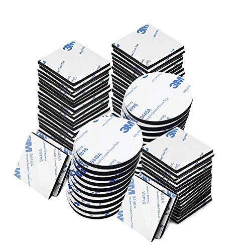 Klebepads Doppelseitig 100 Stücke, Doppelseitige Schaumstoff-Pads, Klebepads Selbstklebend Schaumstoff Pads, Schwarz, Rund & Quadratisch