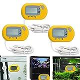 3 PCS Termómetro Digital para Nevera y Congelador, Monitor LCD de Temperatura con Termómetro Digital y Sonda Externa para refrigerador congelador refrigerador Acuario (Amarillo)
