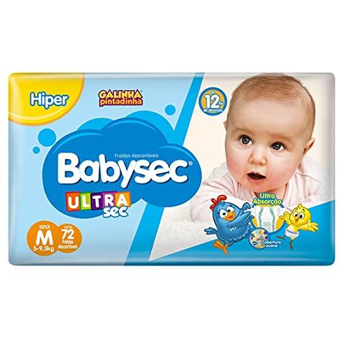 Fraldas descartáveis Babysec Ultrasec Galinha Pintadinha, 80 Unidades, Tamanho M 5 - 9, 5 Kg, Babysec, Azul, M, pacote de 72