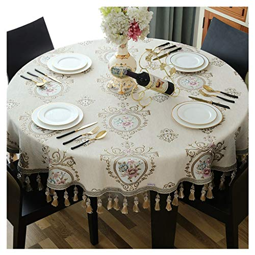 Grote tafel, rond, beige, voor huis, woonkamer, tafelkleed, rond, salontafel, Europese stof, rond