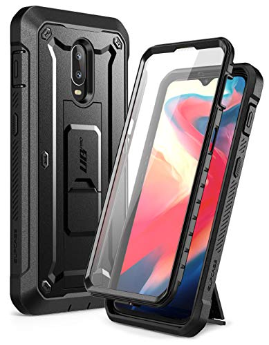SUPCASE Unicorn Beetle PRO Series Case for OnePlus 6T, with Built-in Screen Protector& Rotating Belt Clip Holster Full-Body Rugged Kickstand Holster Case for 1+ 6T 2018 Release (Black)