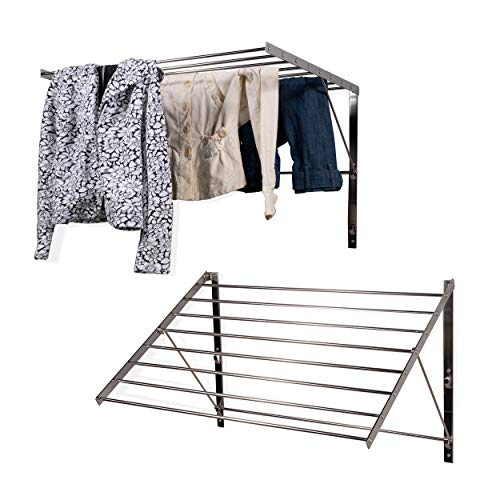 Clothes Laundry Drying Racks - 2 Set Rack - Heavy Duty Stainless Steel Wall Mounted Folding Adjustable Collapsible Space Saver 6.5 Yards Drying Capacity