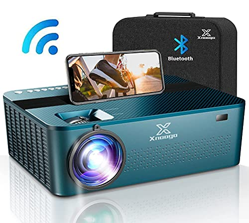 """5G WiFi Bluetooth Mini Projector 4k with Touch screen ,9600Lux 1080P Projector for 450"""" display ,4P/4D Keystone Support 4K & Dolby & Zoom,Portable Wireless Home & Outdoor Projector for iOS/Android/PS4"""