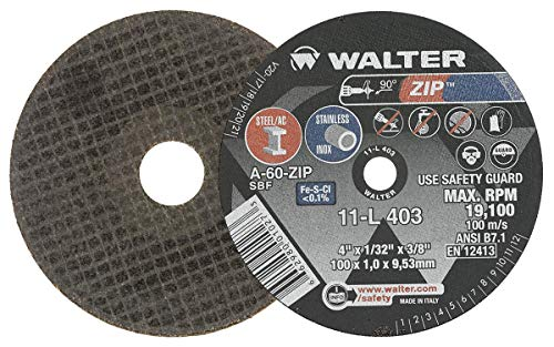 Walter 11L403 ZIP Performance Cutting and Grinding Cutoff Wheel - [Pack of 25] A-60-ZIP Grit, 4 in. Abrasive Wheel. Abrasive and Finishing Supplies