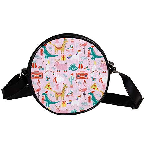 Runde Crossbody Tasche Kleine Handtasche Damen Mode Schultertaschen Messenger Bag Canvas Tasche Hüfttasche Zubehör für Frauen - Alpaka Dinosaurier Flamingo Pig Pink