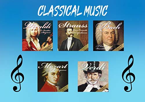5 CD Música clásica, conciertos y sinfonías, Mozart, Verdi, Vivaldi, Strauss, Bach