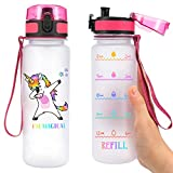 olyee 22oz Motivational Sports Water Bottle with Time Marker, Fast Flow, Flip Top