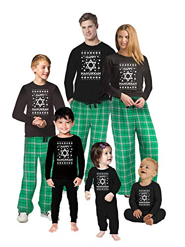 Awkward Styles Family Christmas Pajamas Set Green Hanukkah Matching Sleepwear Toddler PJ Set 2T