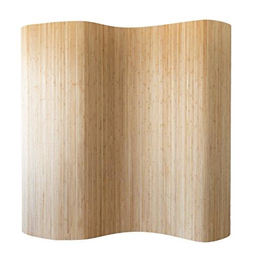 Homestyle4u 302, Raumteiler Bambus, Wellenform Rollbar, Braun Matt, BxH 250x200 cm