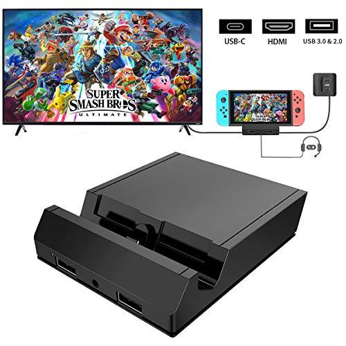 KKUYI Switch Dock Set, Kompakter Tragbares Mini Switch Dock TV Switch Ladestation für Nintendo Switch mit 4K HDMI, USB 3.0/2.0 Anschluss, Typ C Stromeingang und AUX 3,5mm