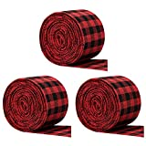 wivarra 3 Rolls Wired Burlap Plaid Ribbon,Red and Black Gingham Ribbon for Gifts Wrapping,Craft&DIY Project,Home Decoration-Red