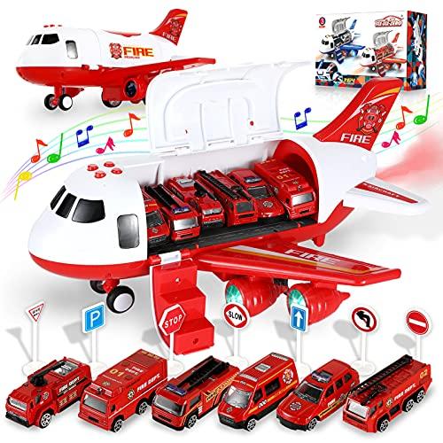 Transport Flugzeuge Spielzeug mit 6 Feuerwehrfahrzeuge, Spielzeugauto Modell Set Kinder Rollenspiel DIY Fahrzeuge Motorik Lernspielzeug LED-Beleuchtung, Soundeffekt mit Schwungrad