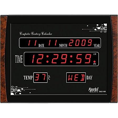 Ajanta Quartz Digital Red LED Rectangle Wall Clock OLC - 105 (39.6 cm x 29.6 cm x 3.5 cm)