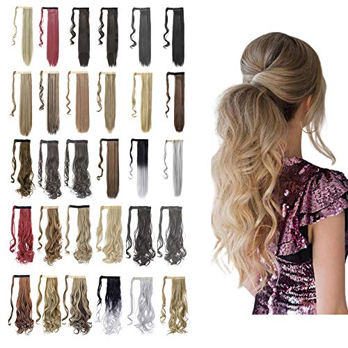 Ponytail Extension Wrap Around 18' 24' Synthetic Drawstring Hair Piece Clip in Hair extensions Ash Blonde Mix Ginger Brown