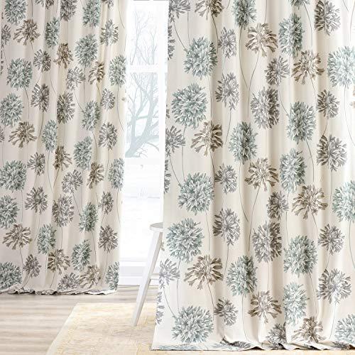 HPD Half Price Drapes PRTW-D05-108 Printed Cotton Curtain (1 Panel), 50 X 108, Allium Blue Gray