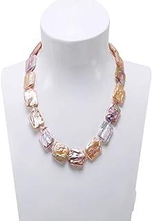 CKLJFG Damen Halskette Klassische Weiße & Lavendel Barock Süßwasser Zuchtperlen Halskette Party Schmuck Geschenk